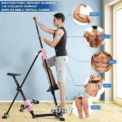 2 IN 1 Foldable Magnetic Exercise Bikes Fitness Workout Vertical Climber Cardio