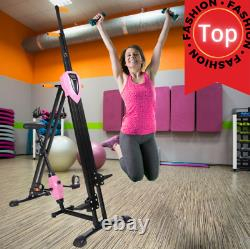 2-IN-1 Vertical Climber Fitness Bike Exercise Stepper Machine Cardio Indoor Pink