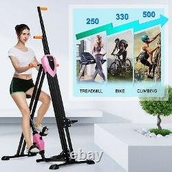 2-in-1 Vertical Climber Exercise Bike Fitness Step Machine Cardio Gym Home Pink