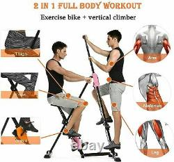 2 in 1 Vertical Climber Stepper Exercise Machine Fitness Bike With Monitor Cardio