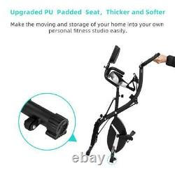 Foldable Exercise Bike LCD Monitor Fitness Indoor Cycle Training Cardio Machine