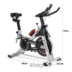 Grey Exercise Bike Home Gym Bicycle Cycling Cardio Fitness Training Indoor