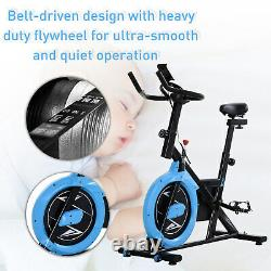 HOMCOM Stationary Exercise Bike Belt Drive Home Gym Cardio with LCD Monitor